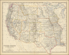Texas, Plains, Southwest, Rocky Mountains, Montana, Wyoming, Pacific Northwest and California Map By W. & A.K. Johnston