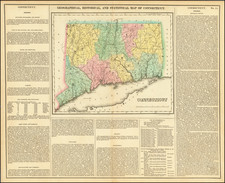 Geographical, Historical and Statistical Map of Connecticut By Henry Charles Carey  &  Isaac Lea