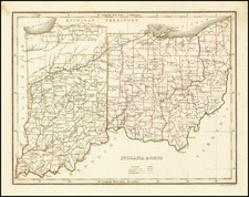 Indiana and Ohio Map By Thomas Gamaliel Bradford