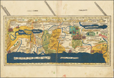 Middle East and Holy Land Map By Lienhart Holle / Pietro Vesconte / Marino Sanuto