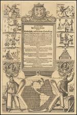 North America, South America, Title Pages, California, California as an Island and America Map By Theodor De Bry / Michiel Colijn / Antonio de Herrera y Tordesillas