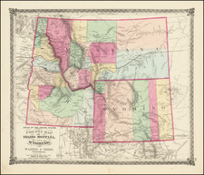 Idaho, Montana and Wyoming Map By H.H. Lloyd