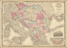 Hungary, Balkans, Greece and Turkey Map By Alvin Jewett Johnson  &  Benjamin P Ward