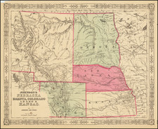 Kansas, Nebraska, North Dakota, Colorado, Rocky Mountains, Colorado, Idaho, Montana and Wyoming Map By Benjamin P Ward  &  Alvin Jewett Johnson