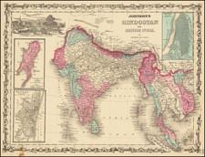 India, Malaysia and Thailand, Cambodia, Vietnam Map By Benjamin P Ward  &  Alvin Jewett Johnson