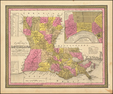 A New Map Of Louisiana with its Canals, Roads, Distances from Place to Place, along the Stage & Steam Boat Routes . . . 1847 By Samuel Augustus Mitchell