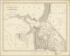 Texas, Arizona, New Mexico and Mexico Map By Hippolyte du Pasquier de  Dommartin