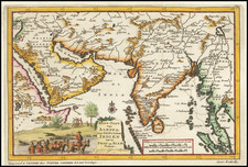 India, Thailand, Cambodia, Vietnam, Central Asia & Caucasus and Middle East Map By Pieter van der Aa