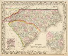 North Carolina and South Carolina Map By Samuel Augustus Mitchell Jr.
