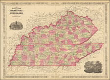 Kentucky and Tennessee Map By Benjamin P Ward  &  Alvin Jewett Johnson