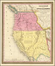 Southwest, Arizona, Utah, Nevada, Rocky Mountains, Idaho, Utah, Oregon, Washington and California Map By Samuel Augustus Mitchell