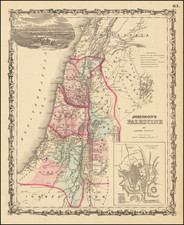 Holy Land Map By Benjamin P Ward  &  Alvin Jewett Johnson