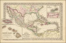 Map of Mexico, Central America, and the West Indies [Insets of Bermuda, Sandwich Islands, Jamaica and Panama Railroad] By Samuel Augustus Mitchell Jr.
