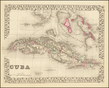 Cuba and Bahamas Map By Samuel Augustus Mitchell Jr.