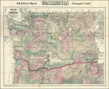 Washington Map By J.K. Gill & Co.