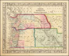 Rocky Mountains, Idaho, Montana, Wyoming, Pacific Northwest, Oregon and Washington Map By Samuel Augustus Mitchell Jr.