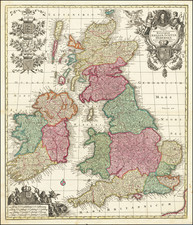 British Isles Map By Matthaus Seutter