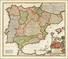 Spain and Portugal Map By Justus Danckerts