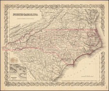 North Carolina Map By Joseph Hutchins Colton