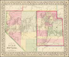 Utah, Nevada and Utah Map By Samuel Augustus Mitchell Jr.