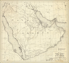 Middle East and Arabian Peninsula Map By Arabian American Oil Co.