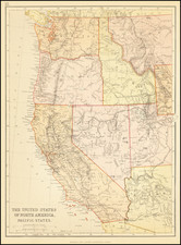 Nevada, Rocky Mountains, Idaho, Montana, Pacific Northwest, Oregon, Washington and California Map By Blackie & Son