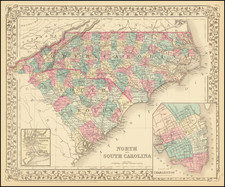 North and South Carolina [with plan of Charleston] By Samuel Augustus Mitchell Jr.