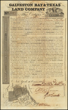 Galveston Bay & Texas Land Company Scrip No. 800 for one Sitio . . . By Galveston Bay & Texas Land Company