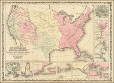 Johnson's New Military Map of the United States Forts, Military Posts & all the Military Divisions with Enlarged Plans of the Southern Harbors . . .   (Shows Military Departments) By Alvin Jewett Johnson  &  Browning