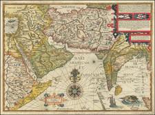 Indian Ocean, India, Central Asia & Caucasus, Middle East and Arabian Peninsula Map By John Wolfe / Jan Huygen van  Linschoten