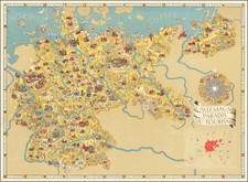 Pictorial Maps, World War II and Germany Map By Riemer