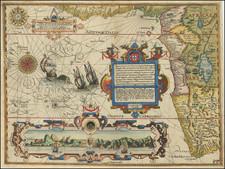 Atlantic Ocean, South Africa and West Africa Map By John Wolfe / Jan Huygen van  Linschoten