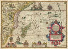 Indian Ocean, South Africa and East Africa Map By John Wolfe / Jan Huygen van  Linschoten