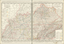 Kentucky and Tennessee Map By George F. Cram