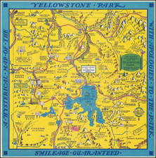 A Hysterical Map Of The Yellowstone Park -- With Apologies To The Park -- Smileage Guaranteed By Lindgren Brothers
