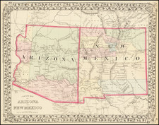 Arizona and New Mexico Map By Samuel Augustus Mitchell Jr.