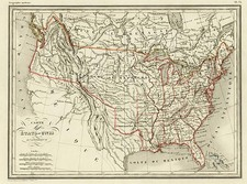United States and Texas Map By Conrad Malte-Brun