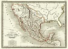 Texas, Mexico and California Map By Conrad Malte-Brun