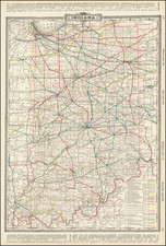 Indiana Map By George F. Cram