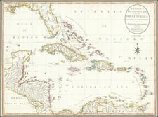 Florida, Caribbean and Central America Map By Carington Bowles  &  Jonathan Carver