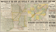 United States, Louisiana, Arkansas, Texas, Missouri and Oklahoma & Indian Territory Map By Woodward, Tiernan & Hale