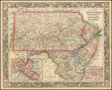 New Jersey, Pennsylvania, Maryland and Delaware Map By Samuel Augustus Mitchell Jr.