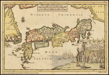 Japan and Korea Map By Pieter van der Aa