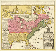 United States, South, Southeast, Midwest, North America and Eastern Canada Map By Nicolas de Fer