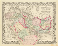 Persia and Turkey & Asia Minor Map By Samuel Augustus Mitchell Jr.