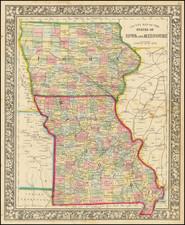Iowa and Missouri Map By Samuel Augustus Mitchell Jr.