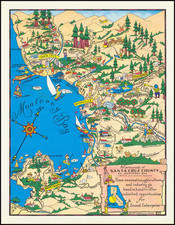 Pictorial Maps, California and Other California Cities Map By John Courtney Sandefur
