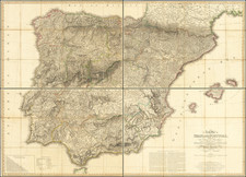 Spain and Portugal Map By William Faden