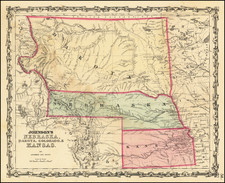 Kansas, North Dakota, South Dakota, Colorado, Colorado, Montana and Wyoming Map By Benjamin P Ward  &  Alvin Jewett Johnson