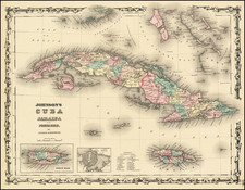 Caribbean and Cuba Map By Benjamin P Ward  &  Alvin Jewett Johnson